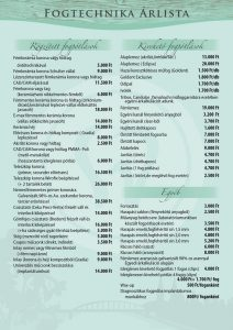 Dentcenter fogtechnika árlista
